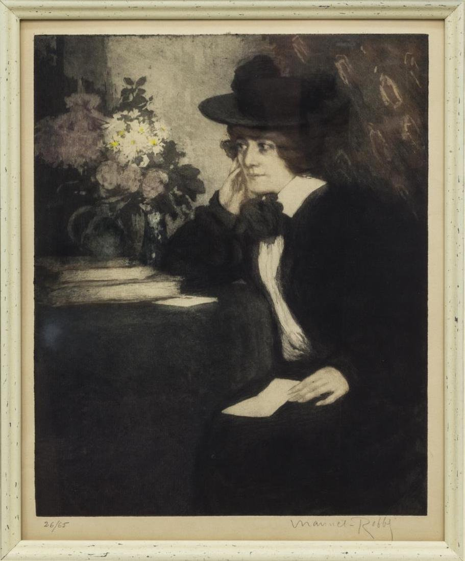 MANUEL ROBBE COLOR AQUATINT, WOMAN WITH LETTER - 2