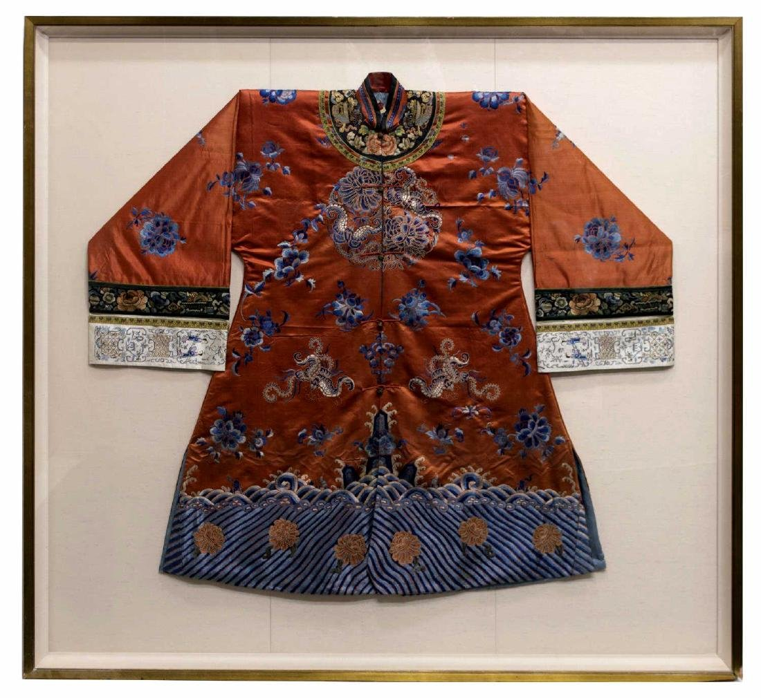 FRAMED CHINESE EMBROIDERED SILK ROBE