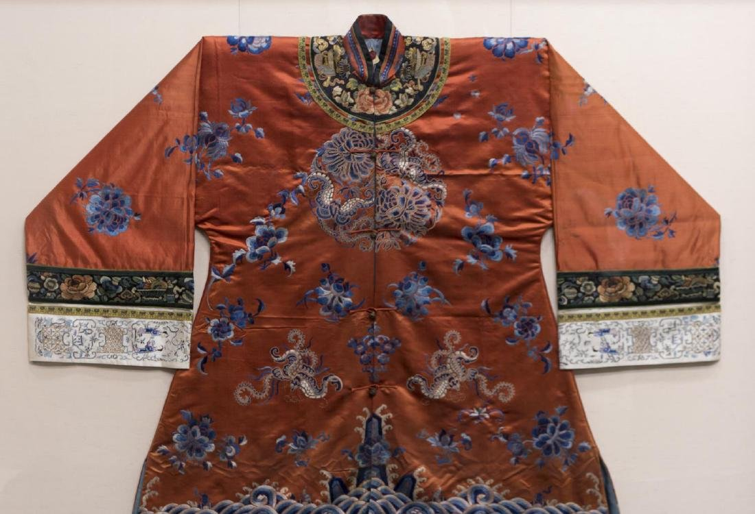 FRAMED CHINESE EMBROIDERED SILK ROBE - 2