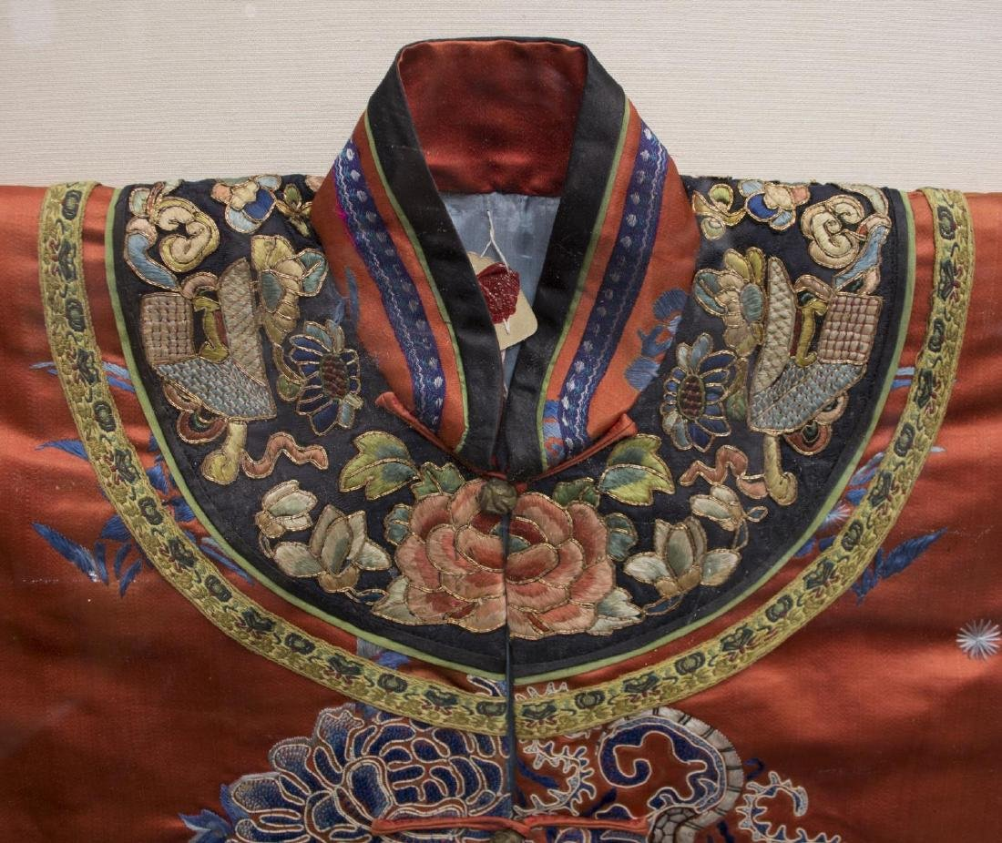 FRAMED CHINESE EMBROIDERED SILK ROBE - 5