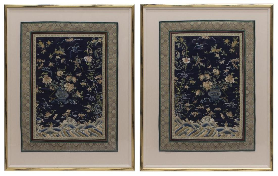(2) FRAMED CHINESE EMBROIDERED SILK PANELS