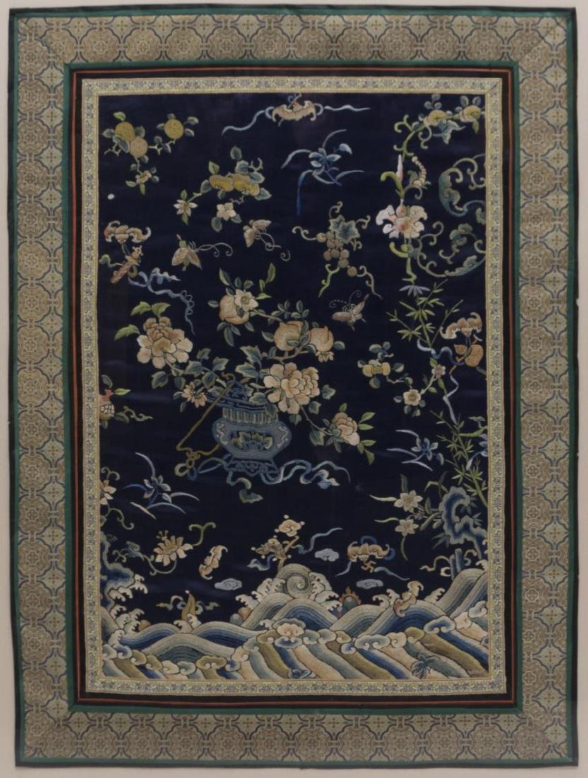(2) FRAMED CHINESE EMBROIDERED SILK PANELS - 2