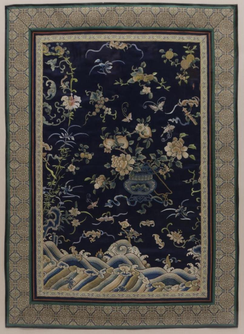 (2) FRAMED CHINESE EMBROIDERED SILK PANELS - 3