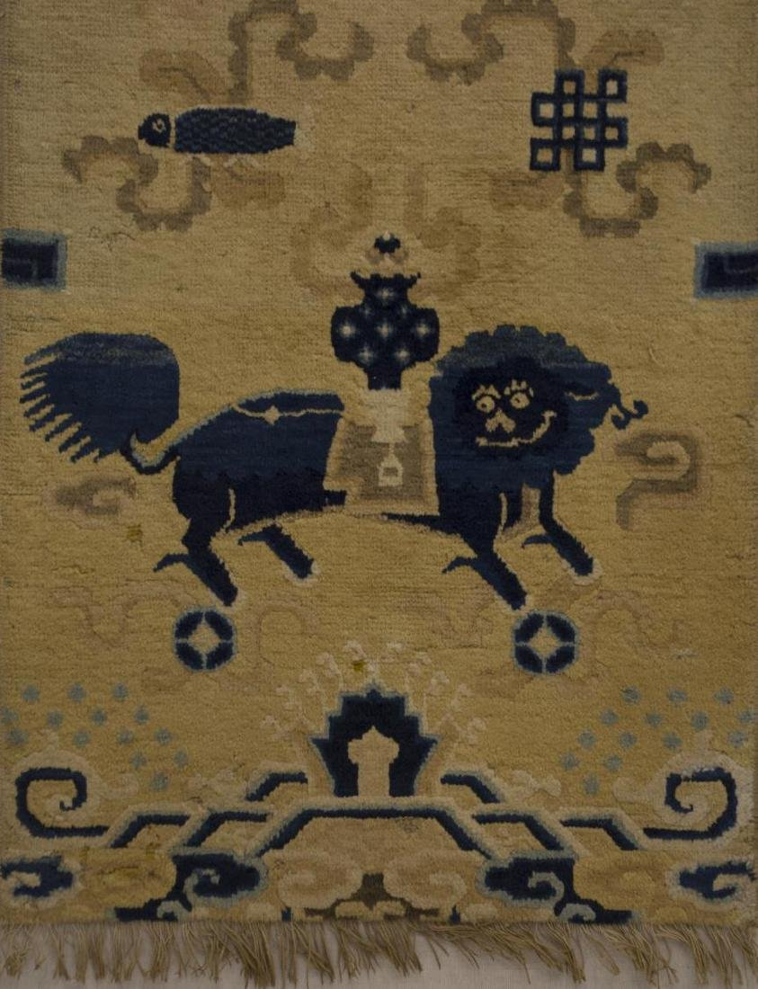 CHINESE MOUNTED FOO LION RUNNER RUG WALL HANGING - 4