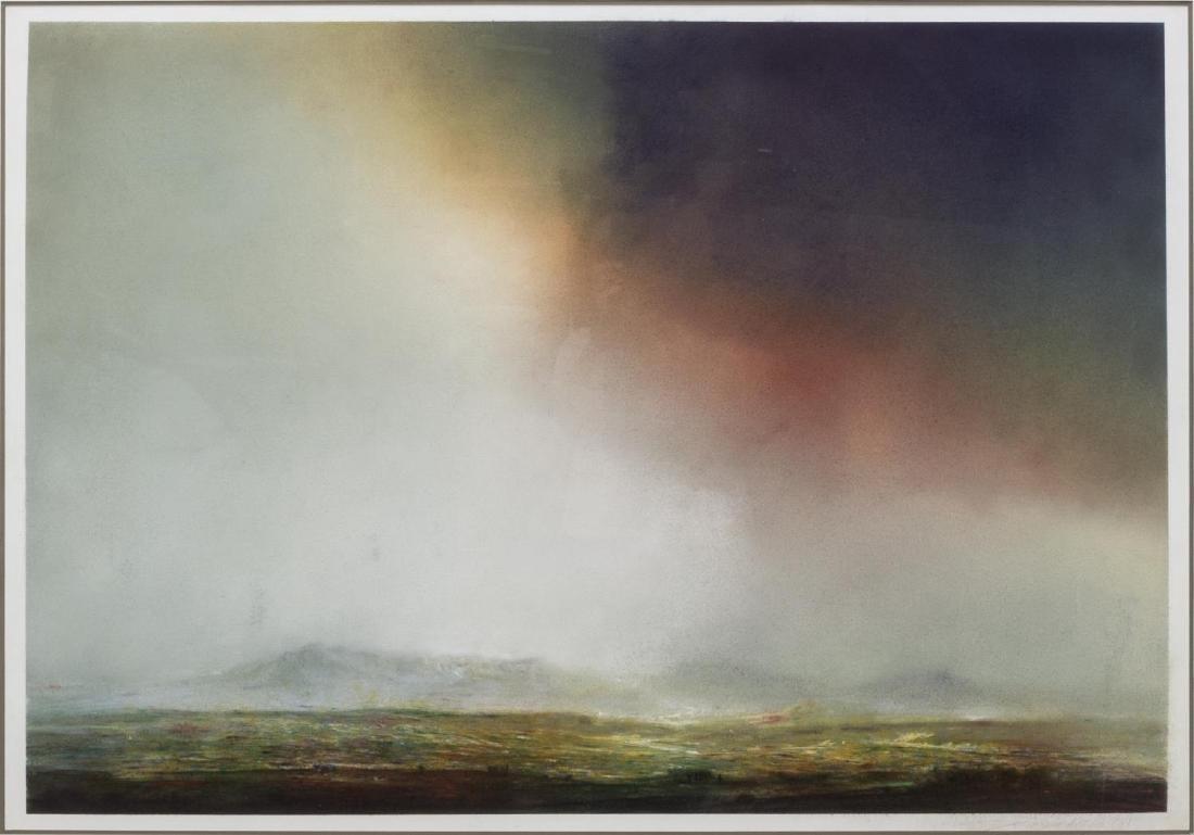 FRAMED CHALK PASTEL LANDSCAPE ARTWORK, C. 1981