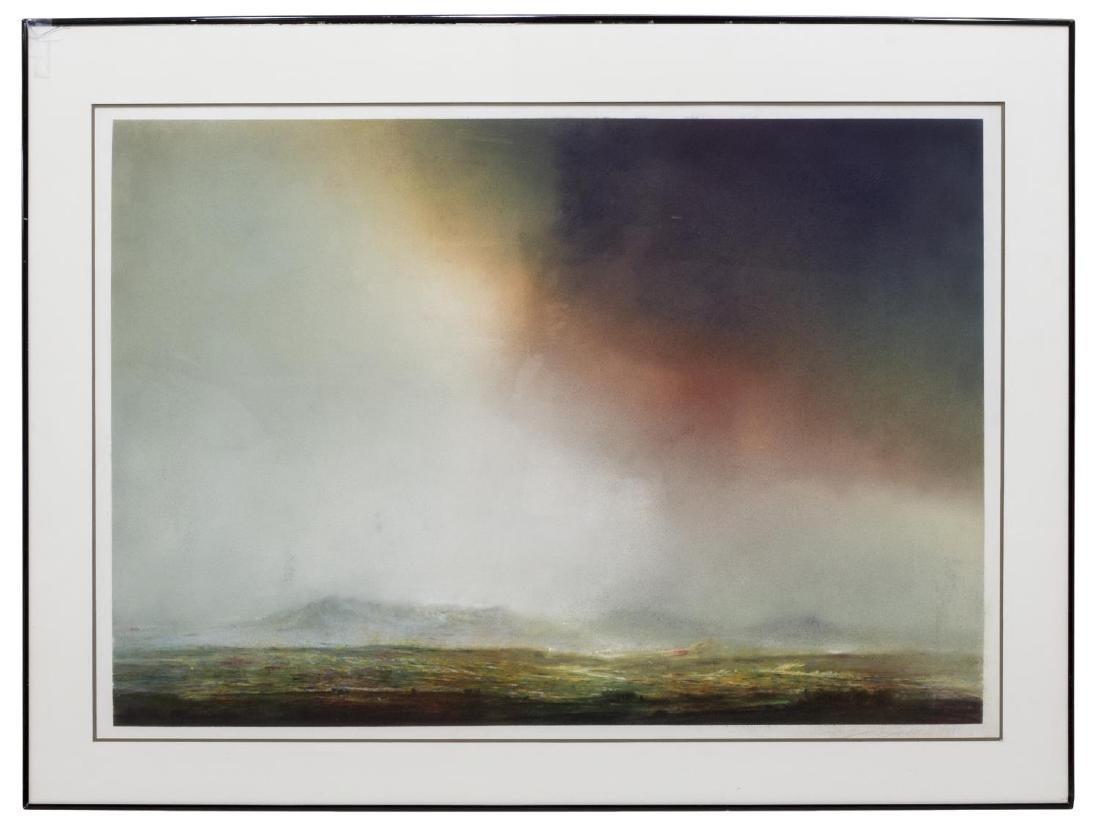FRAMED CHALK PASTEL LANDSCAPE ARTWORK, C. 1981 - 2
