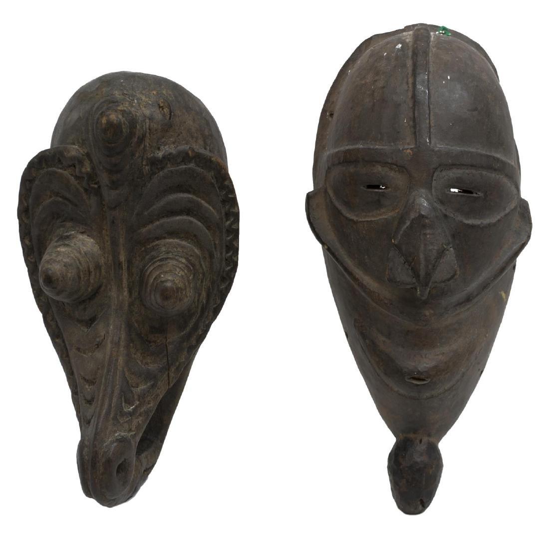 (2) NEW GUINEA CARVED WOOD MASKS, C. 1960-1980
