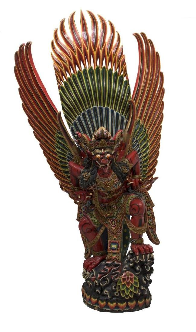 INDONESIAN POLYCHROME CARVED GARUDA STATUE