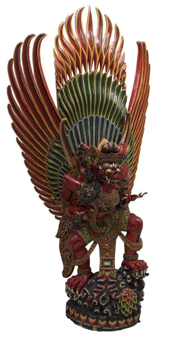 INDONESIAN POLYCHROME CARVED GARUDA STATUE - 2
