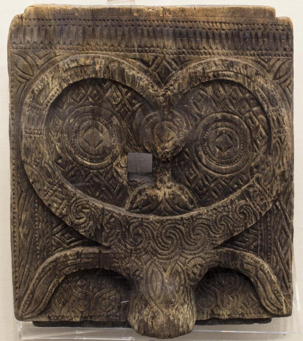 CASED INDONESIAN TORAJA CARVED WOODEN GRAVE DOOR - 2