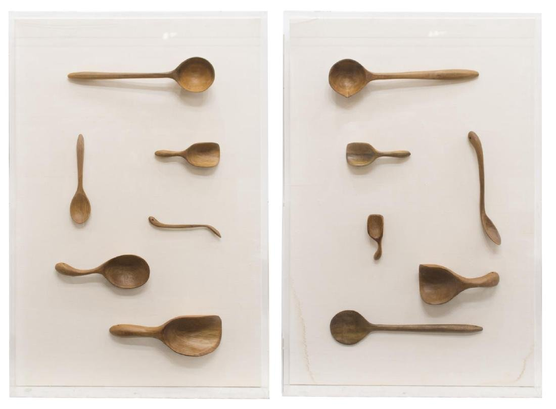 (2) CASED CARVED WOODEN SPOON COLLECTION