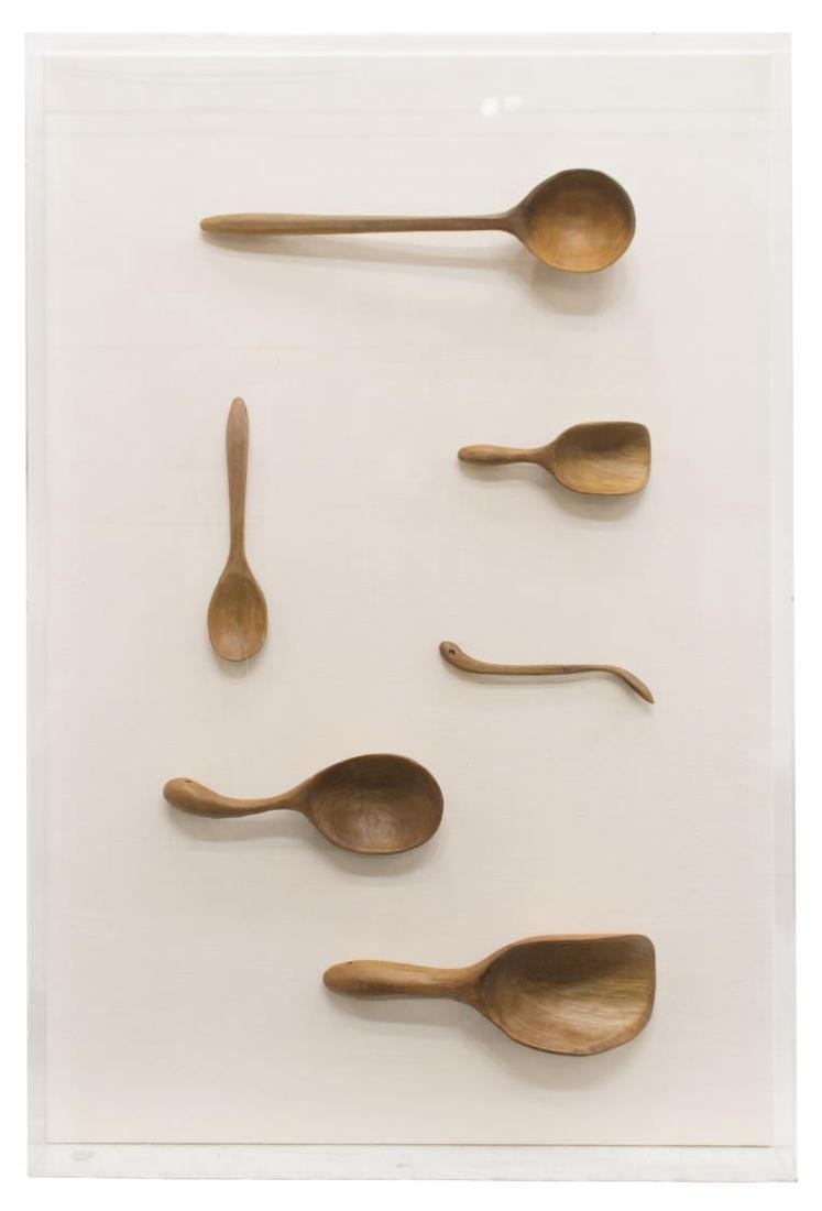 (2) CASED CARVED WOODEN SPOON COLLECTION - 2
