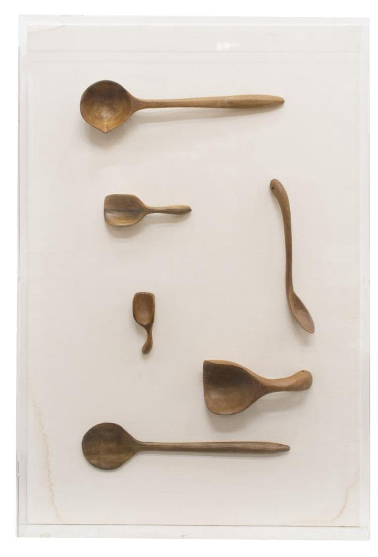 (2) CASED CARVED WOODEN SPOON COLLECTION - 4
