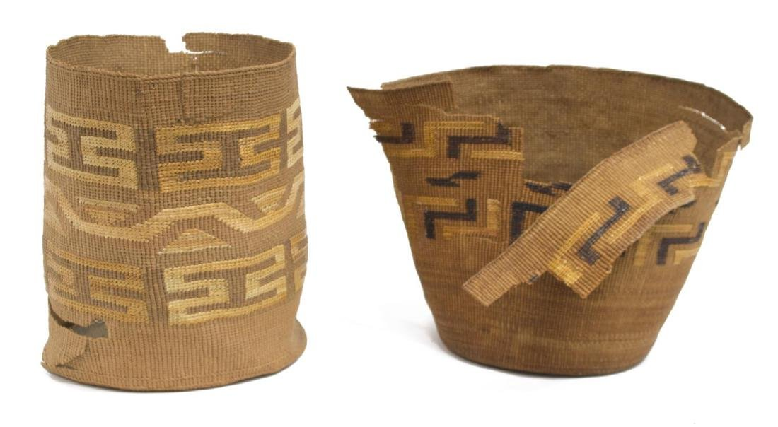 (2) TINGLET POLYCHROME BASKETS WITH LOSS
