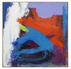 M. NELSON ABSTRACT RED & BLUE OIL PAINTING, 1976
