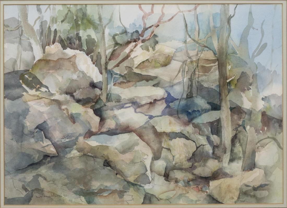 DOLORES PRICE (TEXAS 20TH C.) WATERCOLOR LANDSCAPE