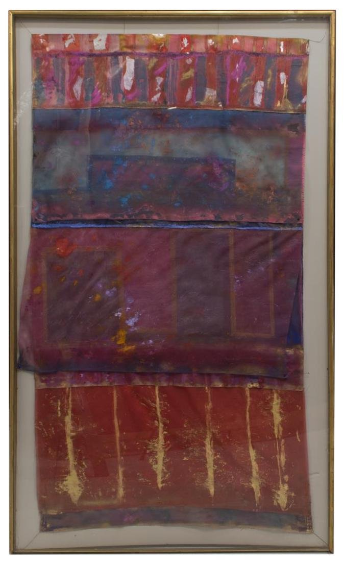 LARGE FRAMED SIGNED PAINTING ON FABRIC