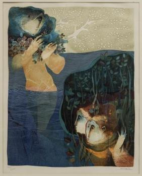 ALVAR SUNOL (B.1935) LITHOGRAPH, MERMAIDS