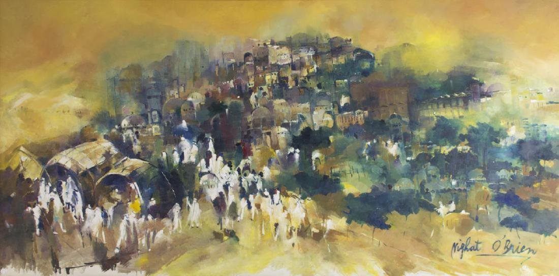 LARGE OIL ON BOARD, PROCESSIONAL FIGURES, SIGNED