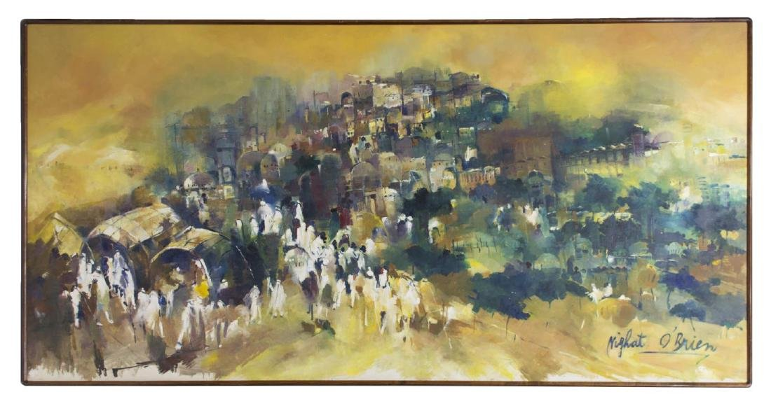 LARGE OIL ON BOARD, PROCESSIONAL FIGURES, SIGNED - 2