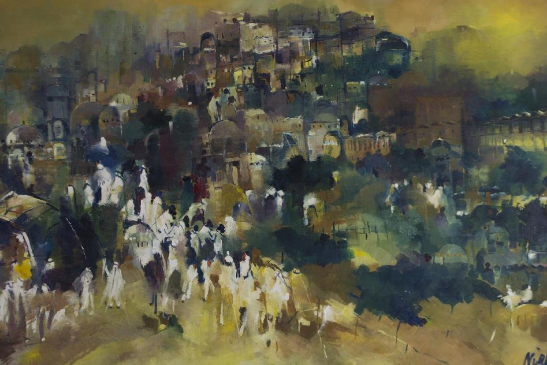 LARGE OIL ON BOARD, PROCESSIONAL FIGURES, SIGNED - 3