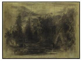 LARGE INK WASH ON PAPER LANDSCAPE, 1981