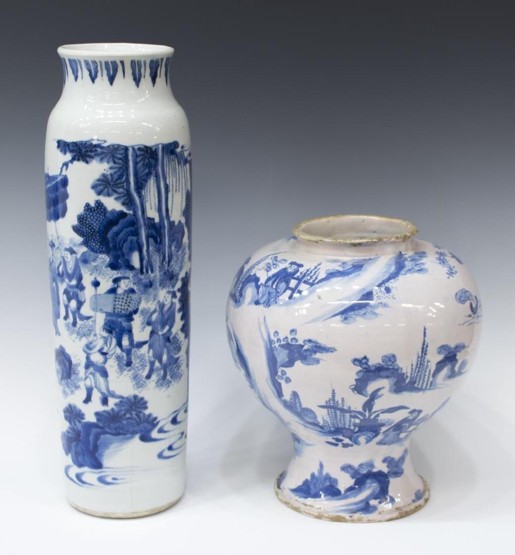 (2) CHINESE BLUE & WHITE DECORATED CERAMIC VASES