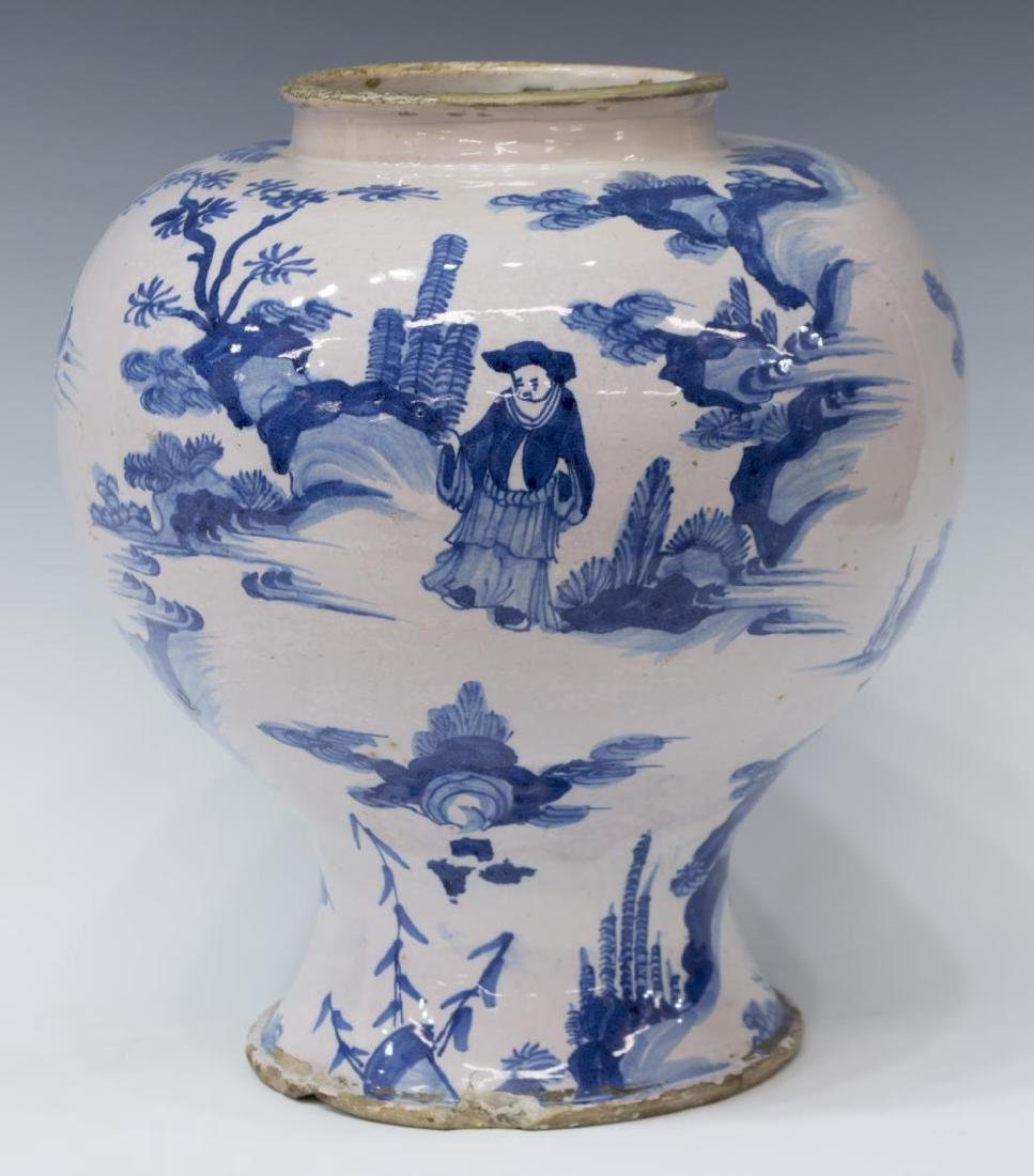 (2) CHINESE BLUE & WHITE DECORATED CERAMIC VASES - 5