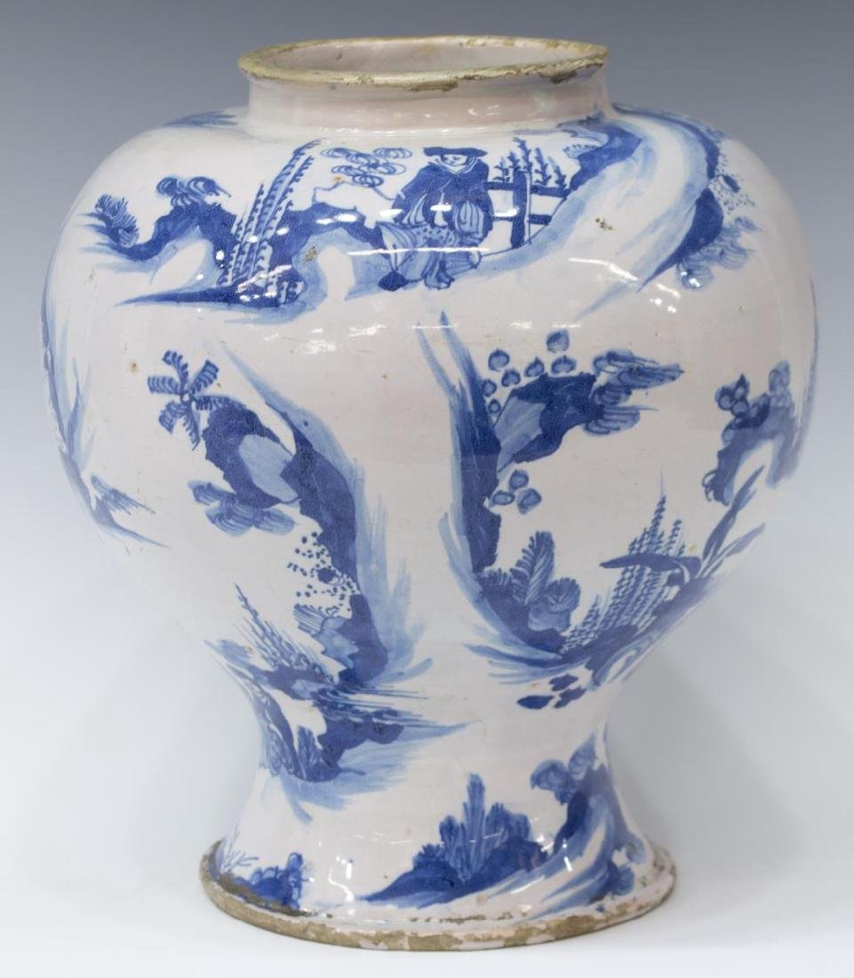 (2) CHINESE BLUE & WHITE DECORATED CERAMIC VASES - 6