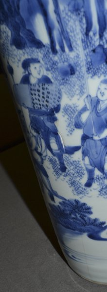 (2) CHINESE BLUE & WHITE DECORATED CERAMIC VASES - 9