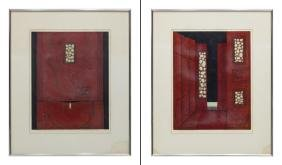 (2) FRAMED JAPANESE SIGNED RED WOODBLOCKS, 1979
