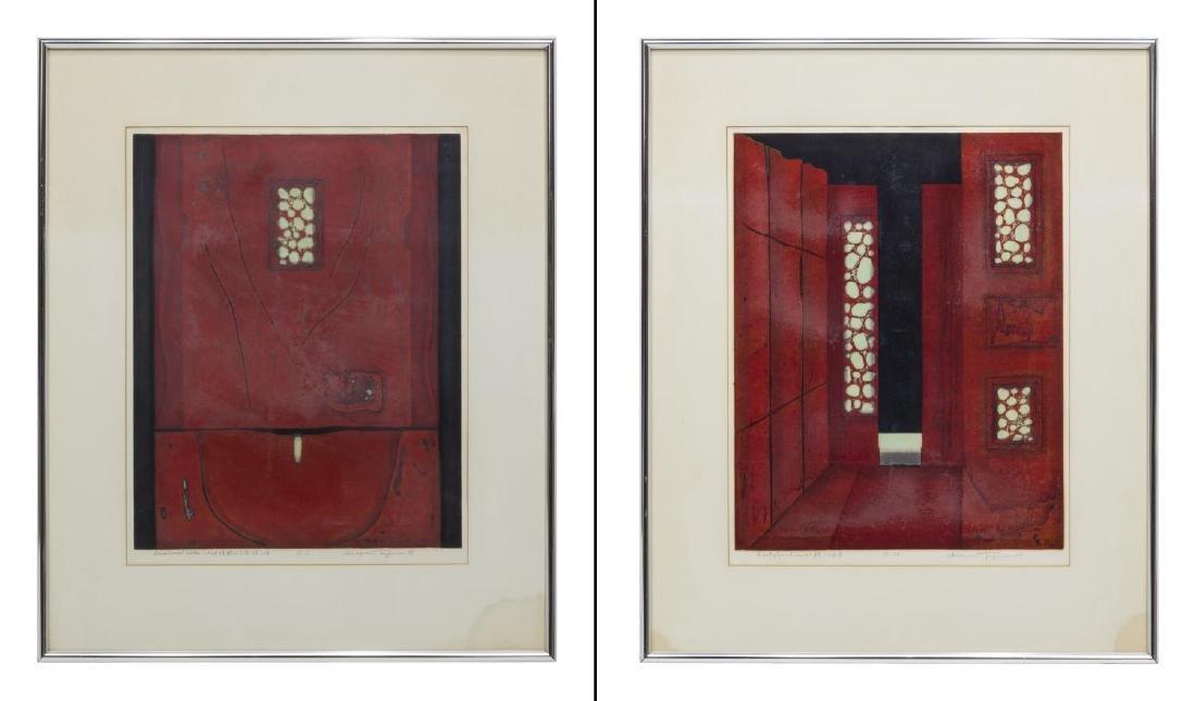 (2) FRAMED JAPANESE SIGNED RED WOODBLOCKS, 1979