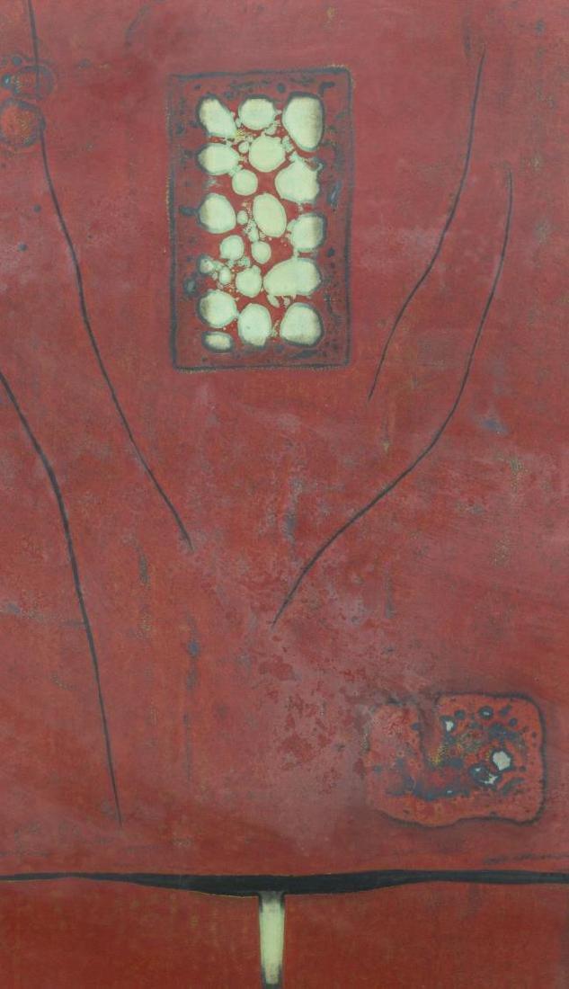 (2) FRAMED JAPANESE SIGNED RED WOODBLOCKS, 1979 - 3