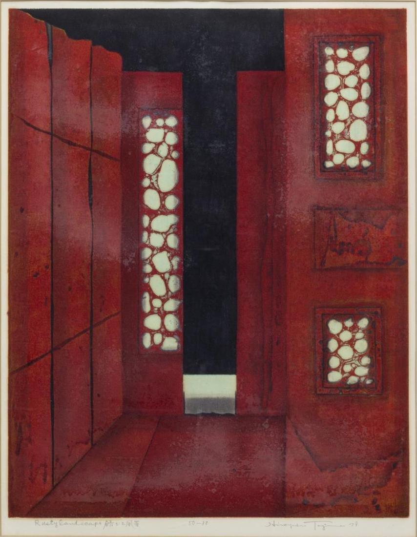 (2) FRAMED JAPANESE SIGNED RED WOODBLOCKS, 1979 - 5