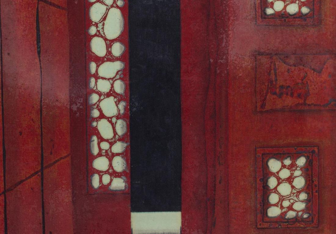 (2) FRAMED JAPANESE SIGNED RED WOODBLOCKS, 1979 - 6