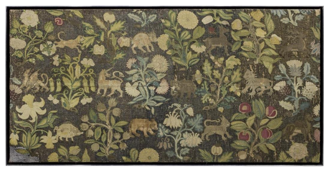 ENGLISH FLOWER & ANIMAL EMBROIDERY PANEL, 18TH C