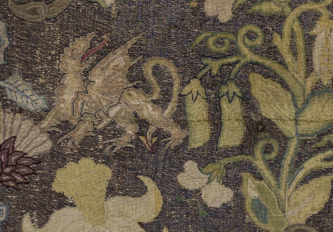 ENGLISH FLOWER & ANIMAL EMBROIDERY PANEL, 18TH C - 3