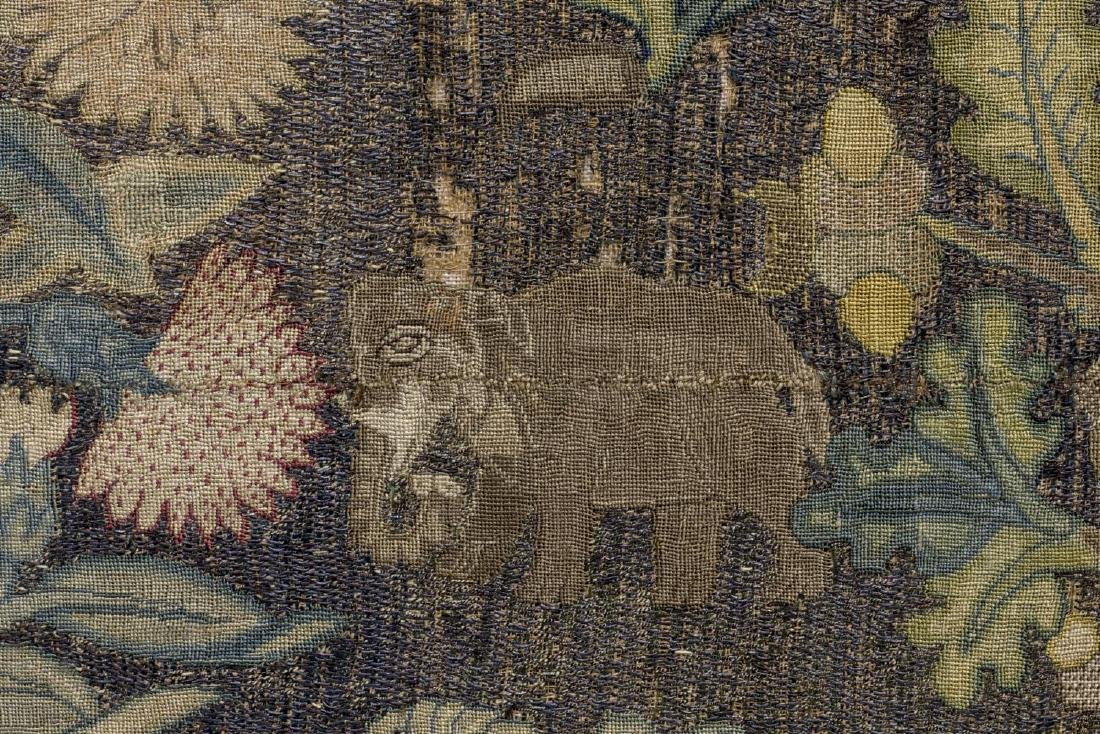 ENGLISH FLOWER & ANIMAL EMBROIDERY PANEL, 18TH C - 4