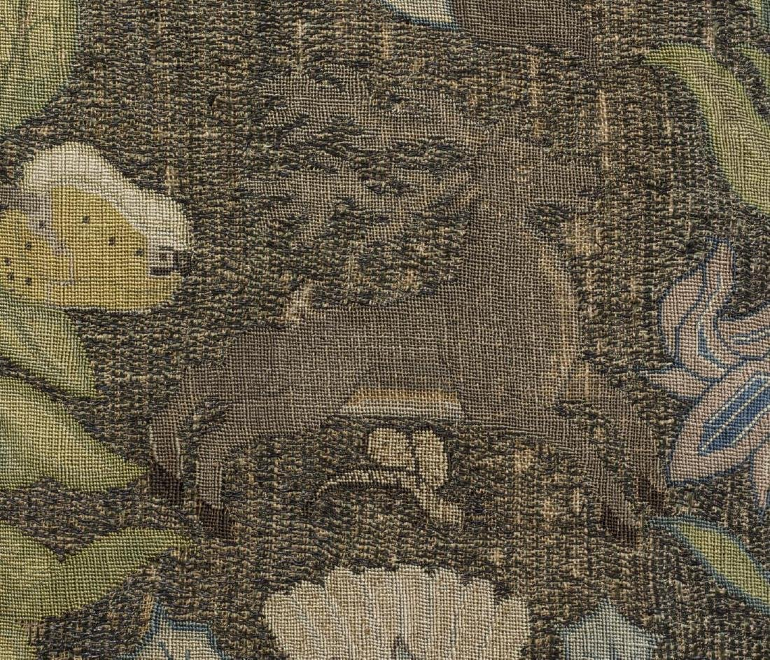 ENGLISH FLOWER & ANIMAL EMBROIDERY PANEL, 18TH C - 5
