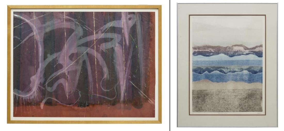(2) FRAMED ARTWORKS, SPLATTER PAPER & COLLOGRAPH