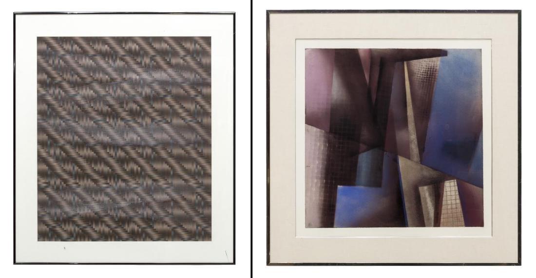 (2) FRAMED ARTWORK, DAVID MINTZER & WOVEN PAPER