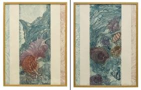 (2) FRAMED INTAGLIO & EMBOSSED SEA THEMED PRINTS