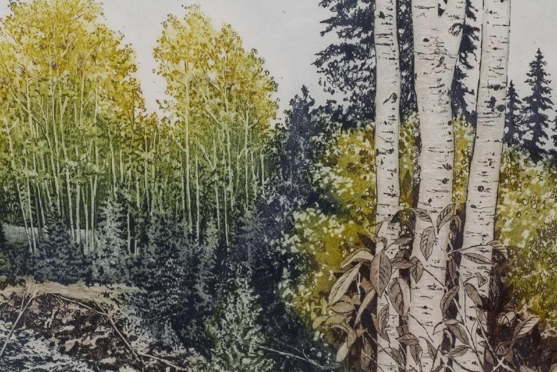 (2) FRAMED COLOR ETCHINGS, WOODED LANDSCAPES - 3