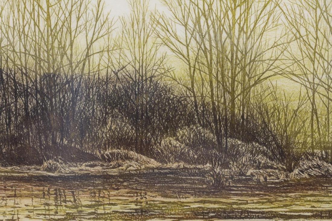(2) FRAMED COLOR ETCHINGS, WOODED LANDSCAPES - 7