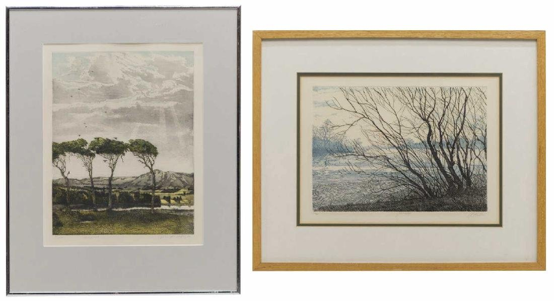 (2) FRAMED COLOR ETCHINGS, DAVID BEATTIE