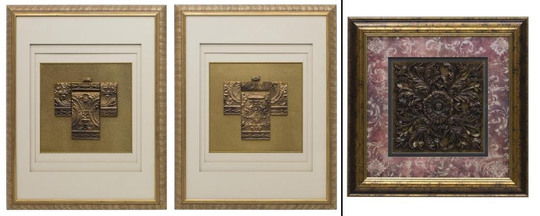 (3) MIXED MEDIA WALL ART, ARCHITECTURAL MOLDING