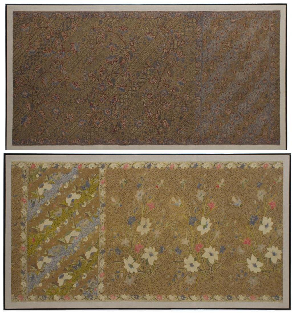 (2) FRAMED & MOUNTED COTTON FLORAL SARONGS, 20TH C