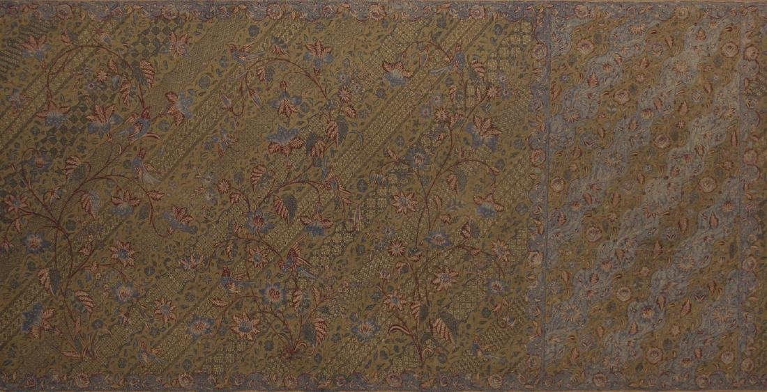 (2) FRAMED & MOUNTED COTTON FLORAL SARONGS, 20TH C - 2