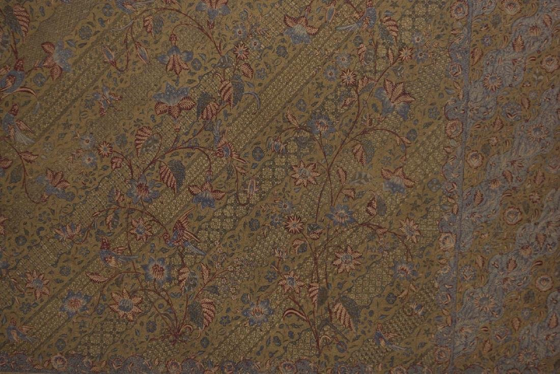 (2) FRAMED & MOUNTED COTTON FLORAL SARONGS, 20TH C - 3