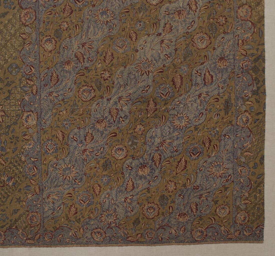 (2) FRAMED & MOUNTED COTTON FLORAL SARONGS, 20TH C - 4